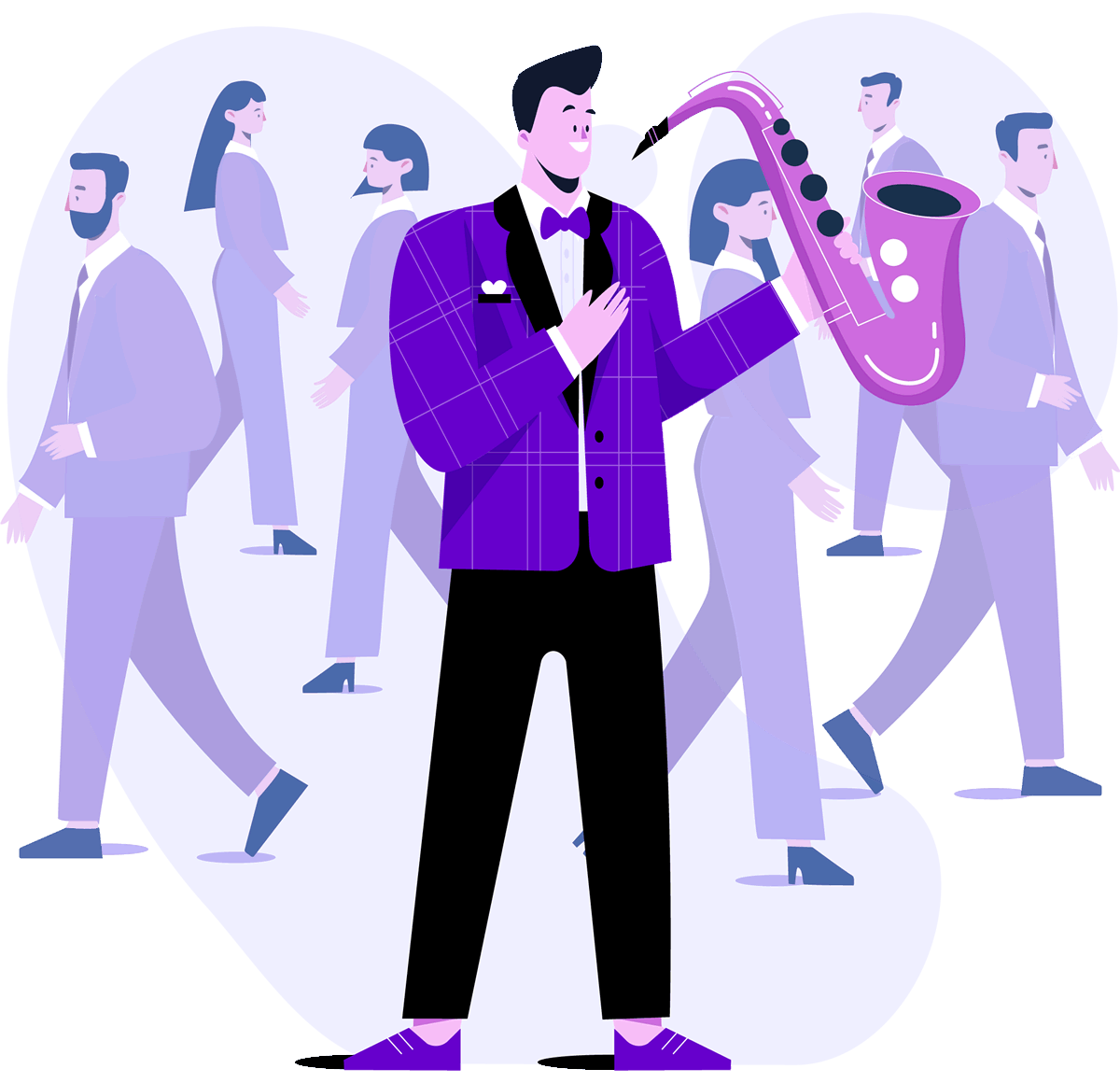Jazzy sax player in a crowd of business suits to illustrate that a custom web application could benefit your business if it doesn't fit the mould