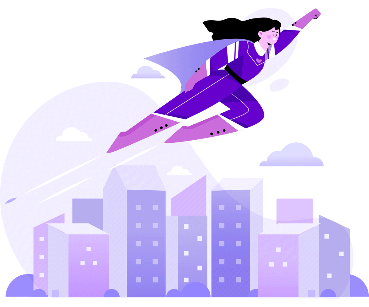 Female superhero flying over city skyline to illustrate that good webs deign can give your business a boost