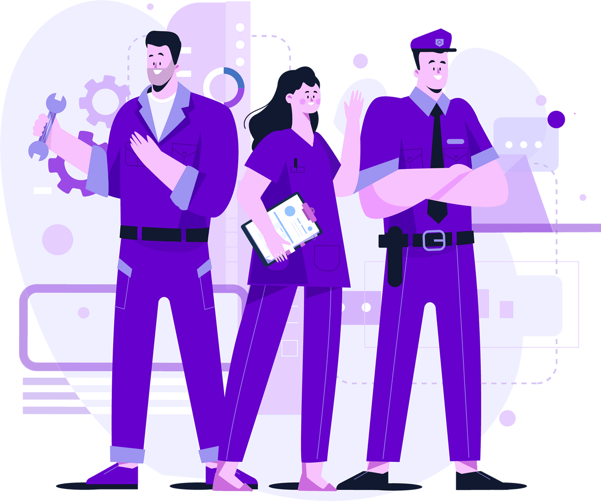 Team of maintenance worker, health care worker and security guard to look after your website