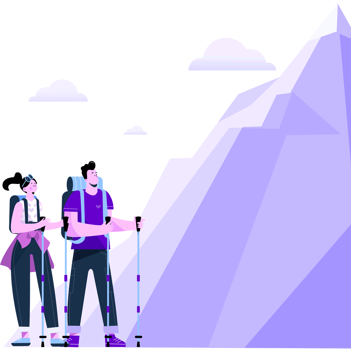 Two hikers at foot of a mountain to illustrate the learning curve of learning WordPress